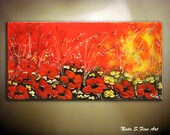 Original Poppies Painting.Landscape on Canvas Painting.Modern Original Art.Wildflower.Seasons.Wall Decor. Perfect Gift  by Nata S.