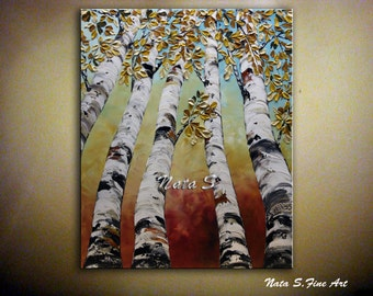 Birch Trees Painting Abstract Textured Painting Autumn Leaves Large Original Artwork Palette Knife Colorful Fall Tree Home Decor  by Nata S.