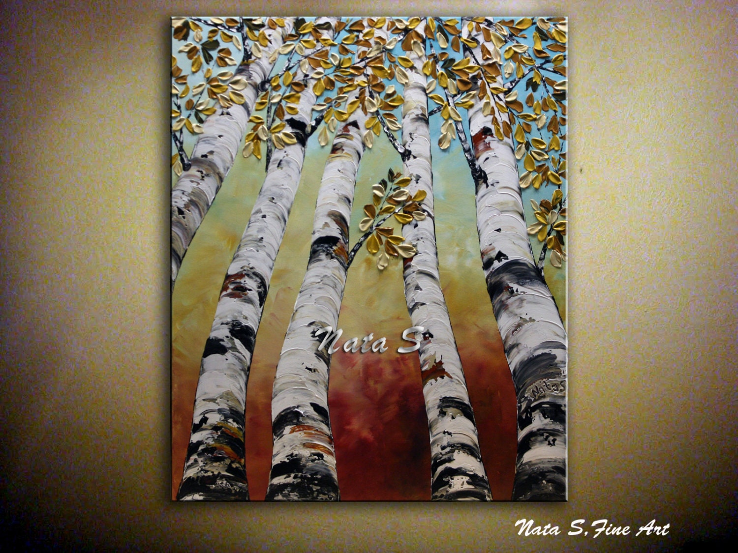 Birch Trees Painting Abstract Textured Art Autumn Leaves