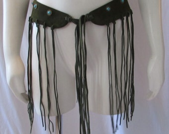 Retro Green Leather/suede fringed belt green turquoise beads adjustable Boho/HipHop/High Fashion