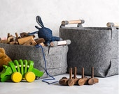 Large Felt Storage Bin with Natural Wood Handles, Felt Basket, Storage Basket, LB-01