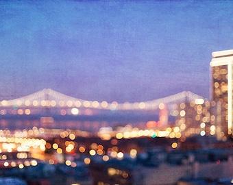 San Francisco Wall Decor Skyline Photography, Bokeh Bay Bridge, Purple Night Sky Photograph, SF Art Print, Home Decor Wall Art, Bay Bridge