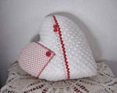 Heart Pillow Valentines Day White Vintage Chenille Heart with Red Polka Dot Hankie Red Vintage Buttons and Lace Home Decor Decorative Pillow