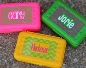 CHEVRON Personalized Pencil Box/ Art Supply Holder - Back to School - #1 Choice for Back to School Gift - Assorted Colors/Designs