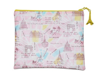 Paris Map Zipper Pouch with Eiffel Tower - Several sizes avalaible