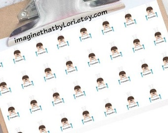 Gymnastics boy planner stickers for your planner (brown hair)