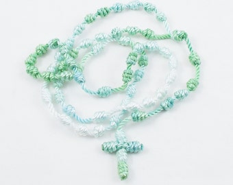 Knotted Cord Rosary, Light Green & White - Hospital Safe and Great for Small Children, Baptism, First Communion, Christmas Gift - Hand Dyed