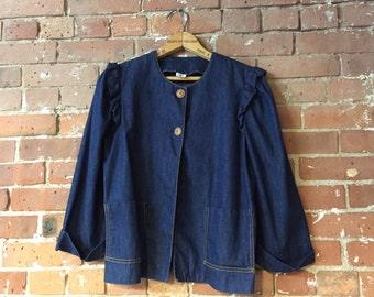 Vintage Levis Ruffled Denim Jacket / Lightweight Denim 3/4 Length Sleeves / Size Small