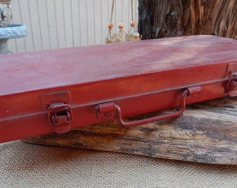 Red Industrial Metal Box  ~  Red Metal Case  ~  Red Metal Storage Box  ~  Metal Storage Box  ~  Industrial Box  ~  Industrial Metal Box