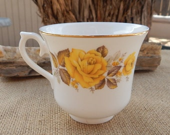 Queen Anne Yellow Rose Bone China Cup  Made in England