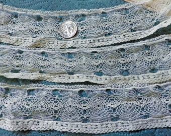 Spectacular Antique Spanish Lace Tenerife Lace RARE Beading Trim Hand Made Victorian Vintage Spider Web Pattern