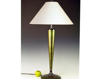 Table Lamp. Living Room Lamp. Desk lamp. Tall lamp. Accent Lamp. Metallic Peridot green. Atomic retro. Art Deco. Space age. 265
