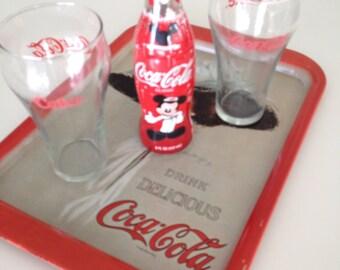 Coca Cola Tray Coke Glasses Bottle 1971 Hamilton King 1909 Girl