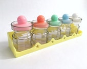 Vintage Kitschy Plastic Canister Set and Wall Mountable Holder- Pastels - Airtight - Hong Kong