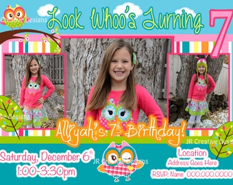 Owl Invitation Owl Invite Girl Invitation Girl invite invitation Owl Birthday Party Look Whoo's turning 1 You're a Hoot Owl Party Photo