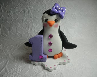 Personalized Girl's First Birthday Penguin Cake Topper, Keepsake, Gift, Clay Cake Topper