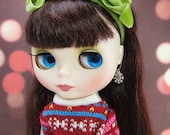 Snowflake Earrings for Blythe or Pullip Dolls with Swarovski Crystals