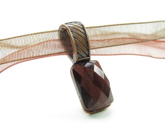 Tiger's Eye Necklace Faceted Cabochon Red Tiger Eye Gemstone Brown Organdy Ribbon Copper Bail