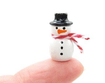 Miniature Snowman Hand Painted Wooden Figurine