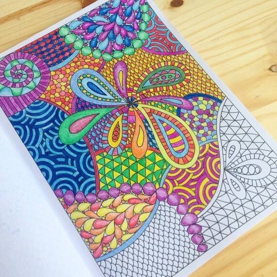 pretty patterns coloring book zentangle inspired printable file 12 pretty zendoodles to color - Zentangle Coloring Book