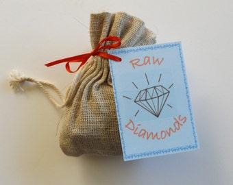 Raw Diamond Gag gift , Coal bag