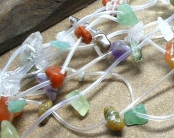 CLEARANCE 10 Strands Chip Beads, Multi Strands, Multi Colors, Rock Crystal Quartz, Aventurine, Amethyst, Quartz, New Jade, Yellow Turquoise