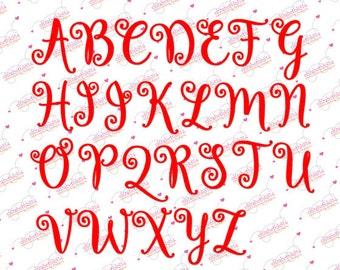 "Sizes 1,50"",2"", 3"" - Instant Download - Lettre Douces-  Embroidery Font Design 267 - Satin Stitches"