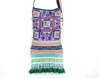 Hippy Cross Body Bag With Vintage Hmong Fabric Adjustable Leather Strap (BG028.4)