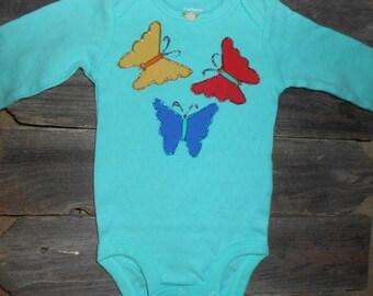 Baby Bodysuit with Beautiful Butterflies Applique
