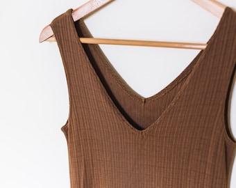 Vintage women's dress / tank / small / brown / gap