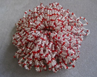 Glass Beaded Flowers Each Sold Separately 3 in STOCK Red and Clear Seed Beads Vintage Supplies OR DIY Make Your Own from Loose Beaded Pins