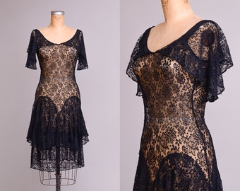 1920s Flapper Dress Black Lace Dress Floral Lace Fluttering Sleeves Evening Dress