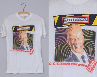 80s Coke a Cola Max Headroom C-C-C-Catch The Wave White Cotton T Shirt