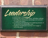 Leadership Definition Plaque / Sign Vintage Style With Antique Finish And Customizable Color. Blank Thank You Note On Back Is Included.