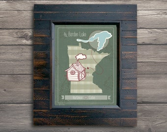 "Cabin Art, Cabin Gift, Gift for Cabins, Family Gift, Cabin Lake Map, Customized Lake Map, Sizes: 5""x7"" up to 24""x36"""