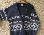 ON SALE: Vintage Mens Knit Cardigan Sweater size L-XL