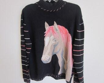 Vintage Sweater Horse Head cowgirl western cowboy hand knit XL