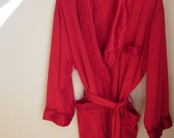 Vintage Red Robe hollywood glam kimono wrap style  L
