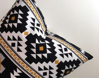 18 inch Throw pillow cover, Aztec Navajo tribal pattern, Southwestern print. Zipper closure, black, white, gold. Riley Blake Four Corners.