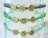 Gold Celtic Knot Accented Glass Beaded Anklet, Handmade Original Fashion Jewelry, Irish Inspired Simple Elegant Subtle Style Ankle Bracelet