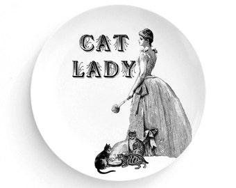 "Crazy Cat Lady Plate, Melamine Plate, Cat Lover, Vintage Illustration, decorative plate, Dinner Plate, 10"" plate, cat decor"