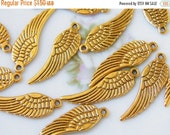 20% OFF Antique Gold Angel Wing Pendants, 10 PC