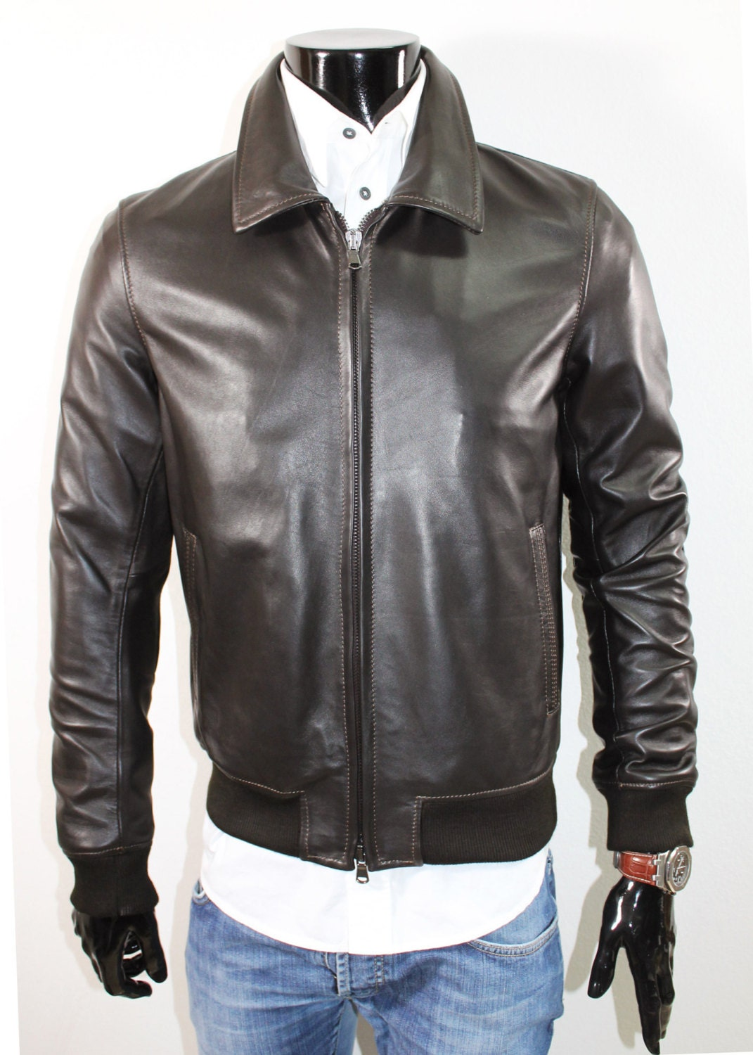 Italian leather bomber jacket