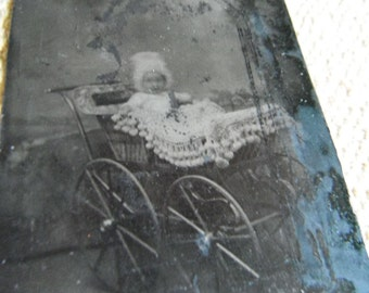 Tintype Photo - Baby in Victorian Carriage