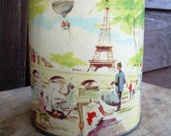 Vintage Candy Tin - Eiffel Tower - Paris Street Scene - Cherrydale Farms