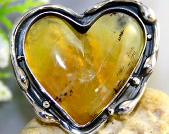 Opal Ring Sterling Silver Jewelry Yellow Gemstone