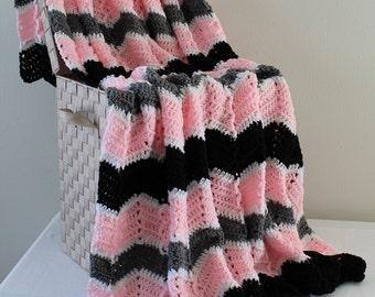 Afghan - Handmade Crochet Ripple Blanket - Black Grey and Pink