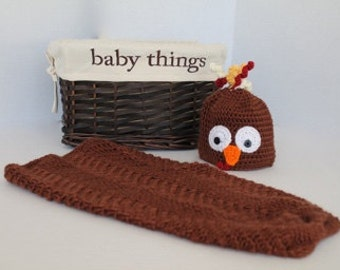 Baby Turkey Cocoon - Baby Swaddle Sack - Crochet Cocoon - Brown - Baby Photo Prop