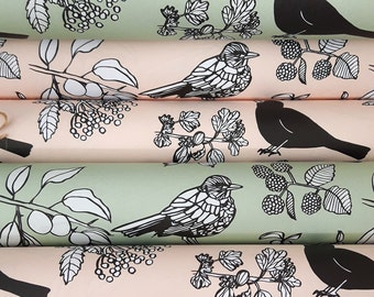 Birds and Berries Gift Wrap: 2 sheets Pink or Green. Bird pattern wrapping paper. Eco friendly recycled paper, vegetable based inks. 50x70cm