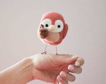 Needle Felted Pink Bird, Needle Felted Animal, Plush, Acorn, Fall, Christmas, Felt Animal, Birdie, Ornament, Yellow, Cute, Gift, Nursery